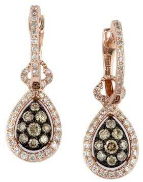 EFFY Espresso 14 Kt. Rose Gold & Diamond Teardrop Earrings