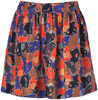 Marc by Marc Jacobs Flamingo Red Multi Silk Nata Camouflage Skirt