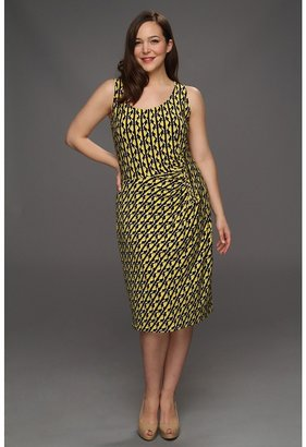 Klein Plus Anne Plus Size Geo Stripe Print Dress (Chrome Multi) - Apparel