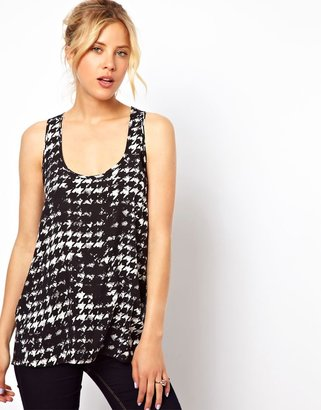 Asos Vest In Smudge Dogtooth Print