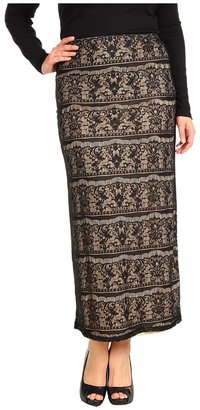 Christin Michaels Plus Size Wrena Lace Maxi Skirt (Black) - Apparel