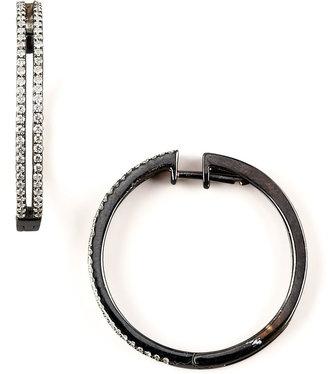 KC Designs Diamond Hoop Earrings, Blackened Gold