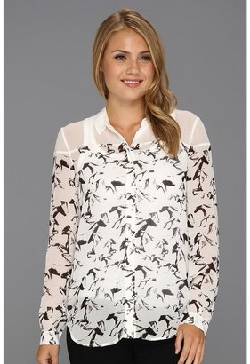 French Connection Hatched Horses Print Top (White/White Print) - Apparel