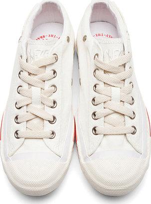 Diesel Cream Denim Low-Top Exposure Sneakers