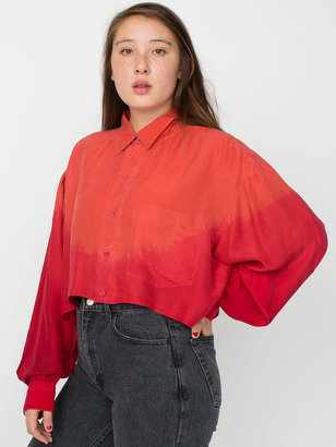 American Apparel California Select Original Silk Cropped Long Sleeve Button-Up