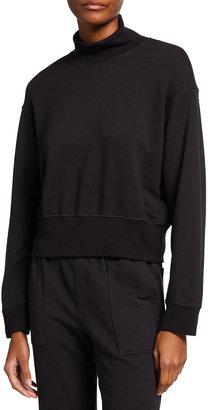 Monrow Supersoft Fleece Mock-Neck Sweatshirt