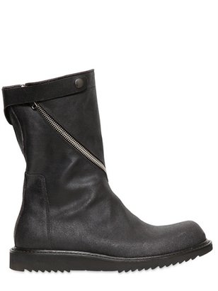 Rick Owens Twisted Zip Crust Leather Boots