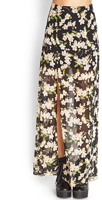 Forever 21 Floral Chiffon Maxi Skirt