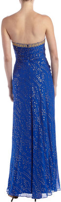 Aidan Mattox Strapless Foil Gown