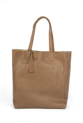 Yosi Samra Ezra Tumbled Leather Tote in Taupe