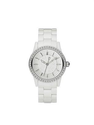 DKNY Chambers White Plastic Glitz Watch
