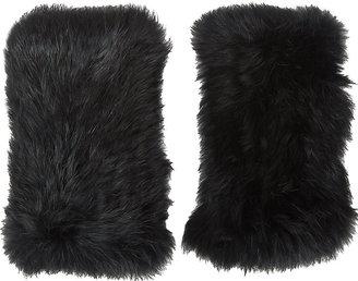 Barneys New York Women's Rabbit Fur Fingerless Gloves $100 thestylecure.com