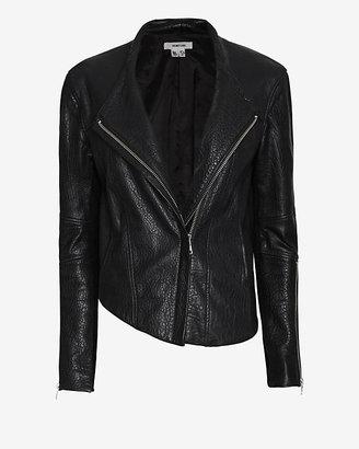 Helmut Lang Blistered Leather Asymmetric Jacket: Black