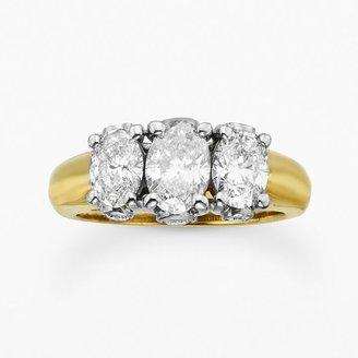 14k Gold 2-Ct. T.w. Diamond 3-Stone Ring