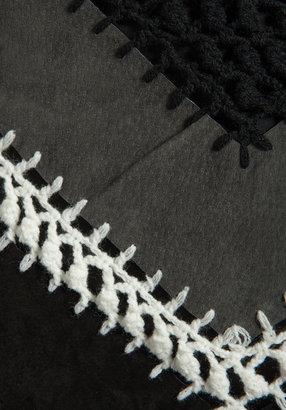 BB Dakota Cole Suede/Crochet A-Line Mini Skirt