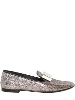 Giuseppe Zanotti 10mm Glitter Mirror Bow Loafers