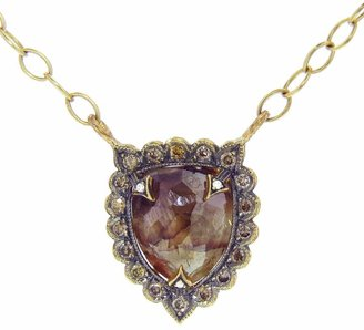 Cathy Waterman Rustic Diamond Shield Necklace - 22 Karat Gold