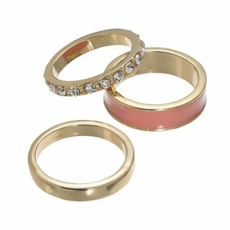 JLO by Jennifer Lopez gold tone simulated crystal stack ring set