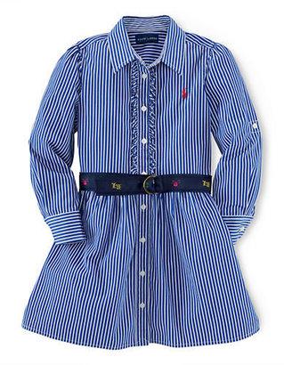 Ralph Lauren Girls 2-6x Belted Stripe Shirtdress