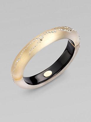 Alexis Bittar Swarvoski Crystal Accented Lucite Bangle Bracelet/ Light Gold