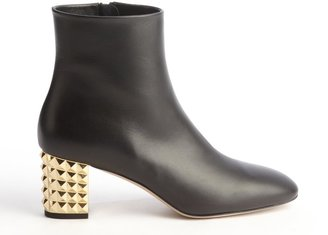 Valentino Black Leather Stacked Heel Ankle Boots