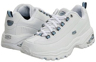 Skechers Premiums (White Smooth Leather/Blue Trim) Women's Lace up casual Shoes