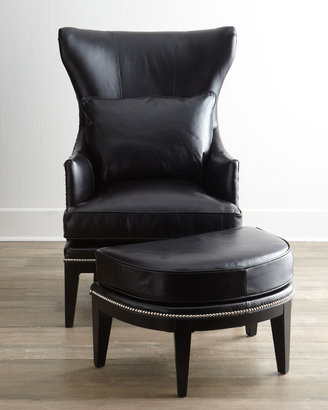 """Coolidge"" Leather Wing Chair & Ottoman"