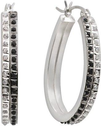 Mystique Diamond Platinum Over Silver Black & White Diamond Accent Hoop Earrings