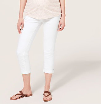 LOFT Petite Maternity Straight Cuffed Cropped Jeans in White with Demi Panel Waist