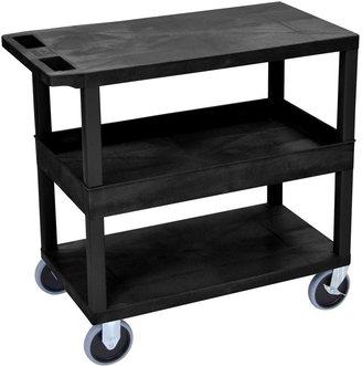 Luxor Plastic Black High Capacity Tub and Flat Shelf Cart