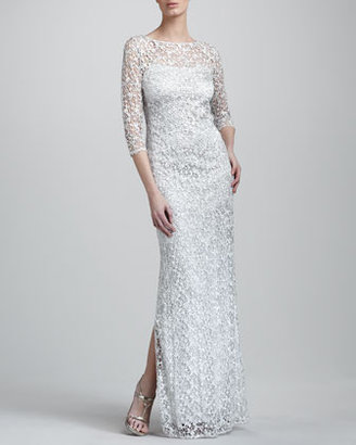 Kay Unger New York Three-Quarter-Sleeve Lace Gown