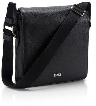 HUGO BOSS Leather 'Bekon' Reporter Bag by BOSS Black