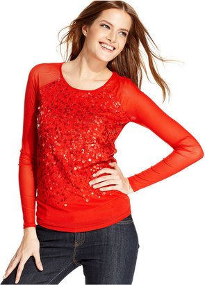 DKNY Top, Long-Sleeve Mesh Sequin
