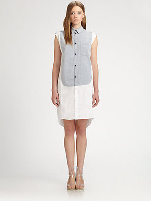 Maison Martin Margiela Combo Cap-Sleeve Shirtdress