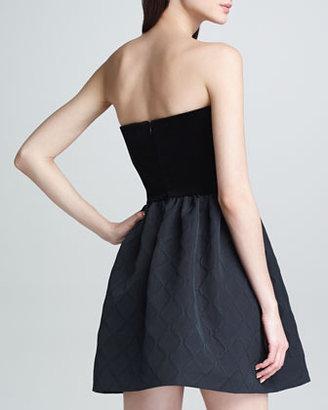 RED Valentino Strapless Velvet Diamond Jacquard Dress, Black