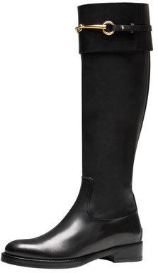 Gucci Jamie Flat Riding Boot, Black