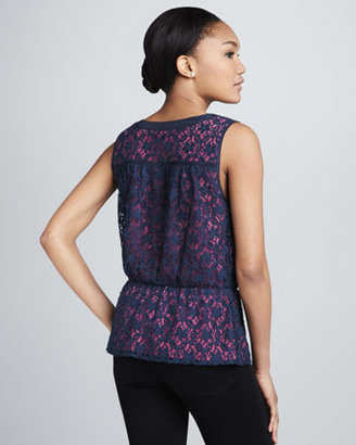 Neiman Marcus Cusp by Lace Contrast-Underlay Top