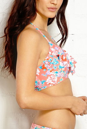 Forever 21 floral longline halter bikini top