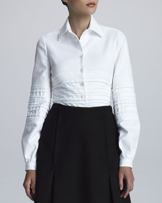 Ralph Rucci Quilted Pique-Knit Shirt