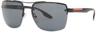 Prada Linea Rossa Matte Black Square-frame Sunglasses