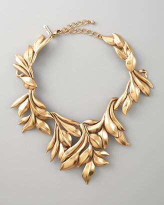 Oscar de la Renta Gold Leaf Collar Necklace