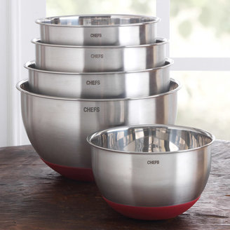 Chefs Stainless-Steel Mixing Bowl Set with Non-Skid Silicone Bottom, 5 piece