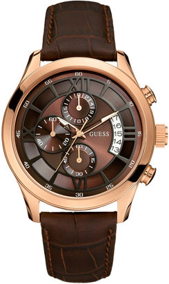 GUESS Watch, Men's Chronograph Brown Croc Embossed Leather Strap 46mm U14504G1