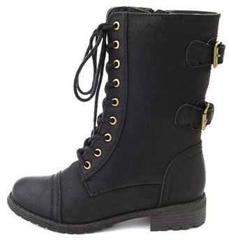 Charlotte Russe Double Buckle Lace-Up Combat Boot