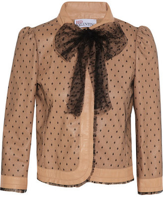 RED Valentino Leather and tulle jacket