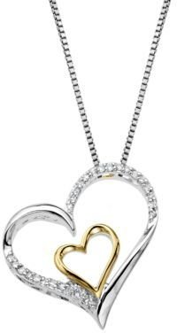 Lord & Taylor Sterling Silver & 14 Kt. Yellow Gold Heart Pendant with Diamonds