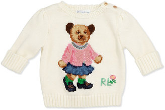 Ralph Lauren Girls' Intarsia-Knit Bear Sweater, 3-12 Months