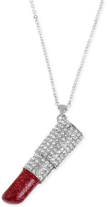 Betsey Johnson Rhodium-Plated Glitter Lipstick Pendant Necklace $58 thestylecure.com