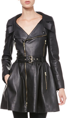 RED Valentino Exposed-Zip Leather Trenchcoat