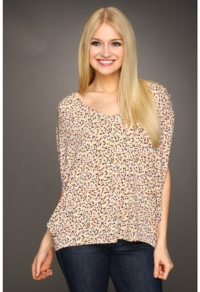 BCBGeneration Printed Back Pleat Cowl Top Women's Blouse